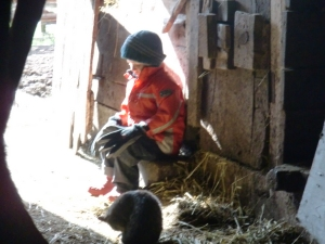 Gabriel; sitting in the sunshine with his Dad's hat and gloves, at the barn.
