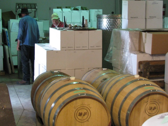 In the Winery, red wine aging in Canadian White Oak barrels.
