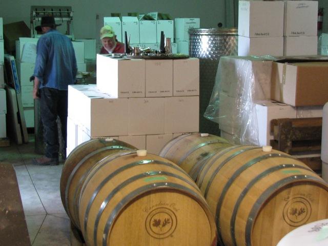 In the Winery, red wine aging in Canadian White Oak barrels.