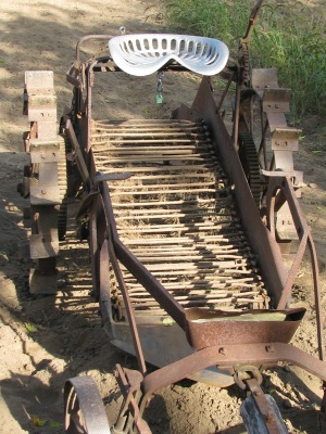 The bars running across the digger form the conveyor for carrying up dirt and potatoes.