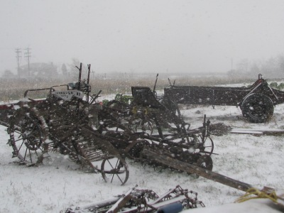The machinery workshop during the snow storm a few days back.