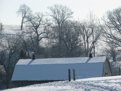 Snow covered barn roof.