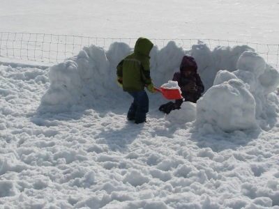 Earlier in the week, warm temperatures allowed for making snow men and snow forts, both of which at this time of the year are doomed to a very short existence.