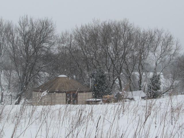 A snowy Yurt scene.